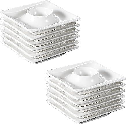 Preisvergleich für MALACASA, Serie Carina, 12 teilig Cremeweiß Porzellan Eierständer Set je 4 Zoll / 10,5 * 10,5 * 2,5cm Eierbecher Eierhalter