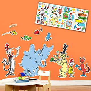 BirthdayExpress Dr Seuss Cat in The Hat Room Decor - Giant and Small Wall Decal Kit