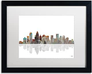 Charlotte NC Skyline Artwork with Frame by Marlene Watson, 16 by 20