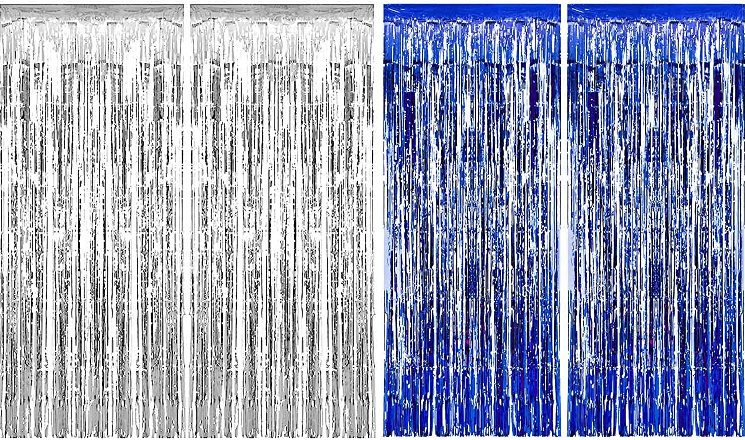Sumind 4 Pack Foil Curtains Metallic Fringe Curtains Shimmer Curtain Birthday Wedding Party Christmas Decorations (Silver bluee)