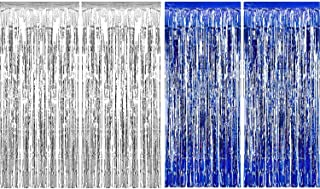 Sumind 4 Pack Foil Curtains Metallic Fringe Curtains Shimmer Curtain for Birthday Wedding Party Christmas Decorations (Silver and Blue)