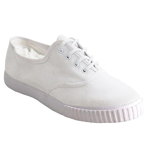 49a5f30acb3f Boys Girls Unisex DEK Lace Up Canvas Casual Black White Flat School Pumps  Plimsolls Trainers Shoes