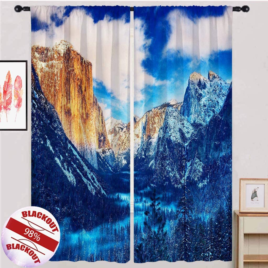 ANHOPE Mountain Curtains Scenery In a popularity Forest Tree Deco OFFicial shop Home