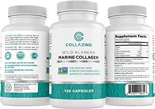 Collazing - Alaskan Wild-Caught Marine Collagen Protein Peptides with Hyaluronic Acid and Vitamin C - for Radiant Skin, Ha...