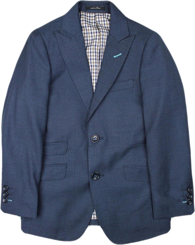 T.O. Collection Boys Blazer Sports Suit Jacket (Slim, Regular, Husky Fits) - Blue with Contrast Stitch, 18