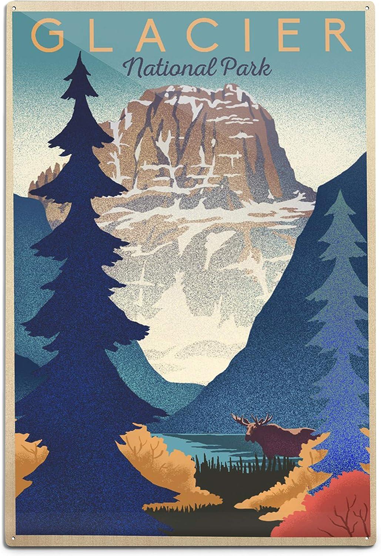 Glacier National Park Mountain ショップ Scene 12x18 A Lithograph 88202 最安値
