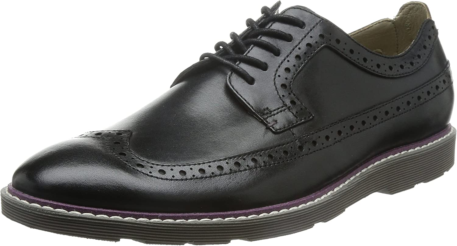 Clarks Gamberson Dress Black Leather Formal Smart Casual Brogue Derby shoes UK 8.5 EU 42.5