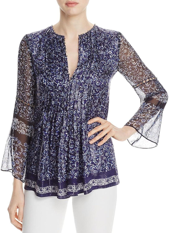 Elie Tahari Womens Orion Metallic Silk Blouse