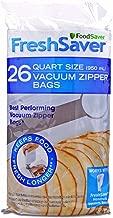 FoodSaver FSFRBZ0236-000R 1-Quart FreshSaver Vacuum Zipper Bags, 26 Count (Package might vary)