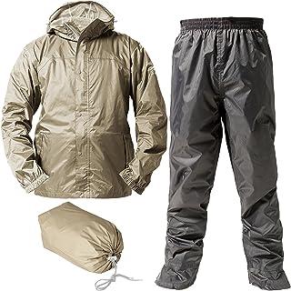 レインスーツ 上下 ンズ (透湿度:2000g/m2-24HR) (耐水圧:10000mmH2O) (フード収納) (リュックINジャケット) (防水収納バック付き) M カーキー AS7600