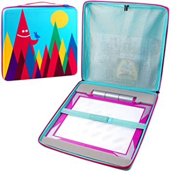 Carrying Storage Case Compatible with Crayola Light-up Tracing Pad, Zippered Netting Inside for Supplies Tracing Pencil, Sheets, Paper, Paperwork