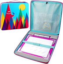 Light Up Tracing Pad Case for Crayola Pink/Blue/Teal/Trolls, Girls Toys Bag for Colored Pencil and Blank Sheets, Easy Coloring Board Pages Organizer Storage for Kids Ages 6, 7, 8, 9 - Hill Bird