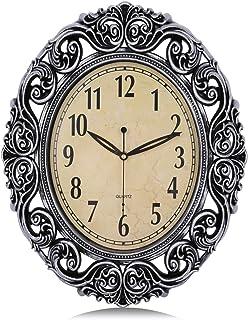 Lafocuse European Retro Silver Large Oval Wall Clock with Fancy Skeleton Surround Silent Filigree Quartz Clocks for Living...