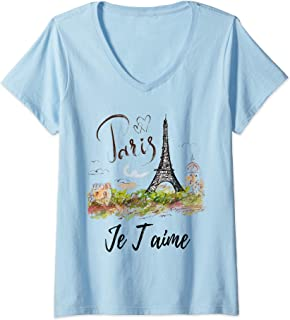 Womens Eiffel Tower Paris Shirt Vintage I Love Paris France City  V-Neck T-Shirt