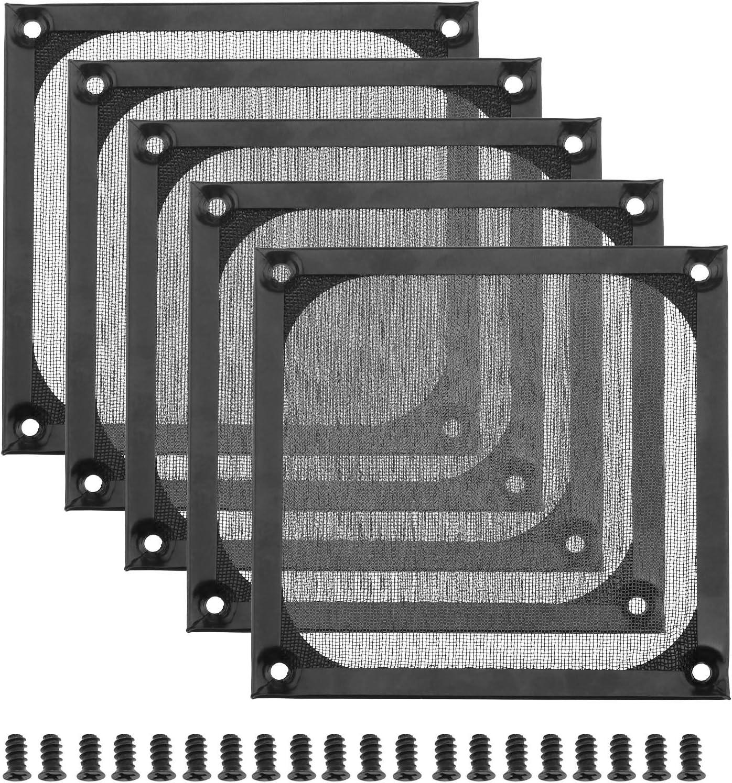 Juego de 5 filtros de rejilla para ordenador de 120 mm, ventilador conjunto con M5 tornillos de refrigeración antipolvo, ventilación lavable de acero inoxidable, color negro