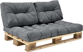 [en.casa]®] Set de 3 Cojines para sofá-palé - cojín de Asiento + Cojines de Respaldo Acolchados [Gris Claro] para europalé In/Outdoor