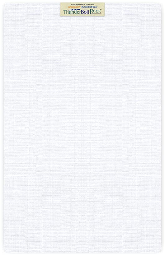 15 Bright White Linen 80# Cover Paper Sheets - 12