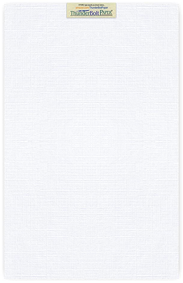 50 Bright White Linen 80# Cover Paper Sheets - 12