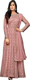 Fashion Basket Womens Nylon Net Anarkali Embroidered Semi Stitched Salwarsuit