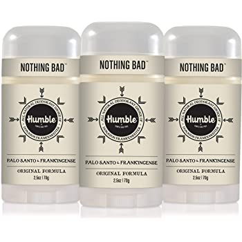 Humble Brands All Natural Aluminum Free Deodorant Stick for Women and Men, Lasts All Day, Safe, and Certified Cruelty Free, Palo Santo and Frankincense, Pack of 3