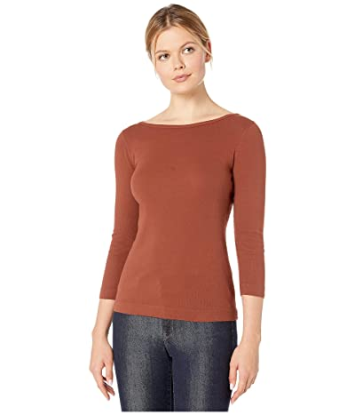 XCVI Essentials Minim 1x1 Rib Long Sleeve Wide Neck Tee (Sumac Pigment) Women