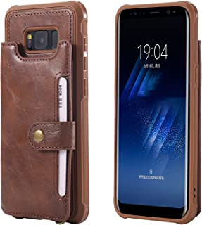 Samsung Galaxy S8+ S8p Case Wallet Leather,Kickstand Protective Card Holder Magnetic Snap Wrist Strap Durable Cover Shell Girl Boy Men Women-Coffee for S8 Plus 6.2