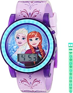Disney Quartz Watch with Plastic Strap, Purple, 18.4 (Model: FZN4032