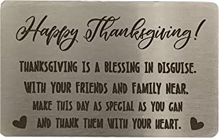 TUWUNA Thanksgiving Blessing Card, Metal Wallet Card Insert, Mini Love Note, Anniversary Card from Family, Anniversary Car...