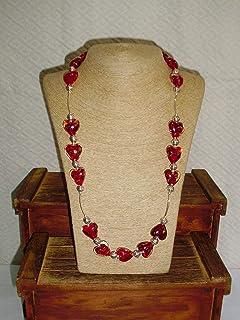 Collar de murano en forma de corazón color rojo y Plata