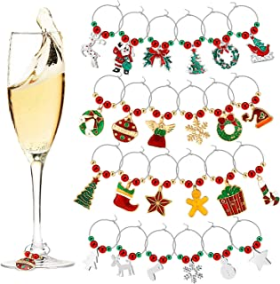 Wine Glass Charms Cute Wine Glass Tags Christmas Themed Wine Glass Markers for Christmas Party Favors Supplies (Style A, 24 Pieces)
