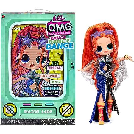 L.O.L. Surprise! OMG Dance Dance Dance Bambola Major Lady, con 15 sorprese, abiti firmati, black light magica, accessori di moda, scarpe, supporto per bambola e confezione TV, Adatto dai 4 anni in su