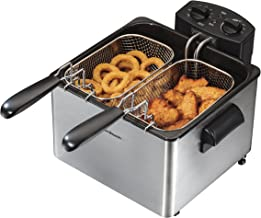 Hamilton Beach Deep Fryer with 2 Frying Baskets, 19 Cups / 4.5 Liters Oil Capacity, Lid..