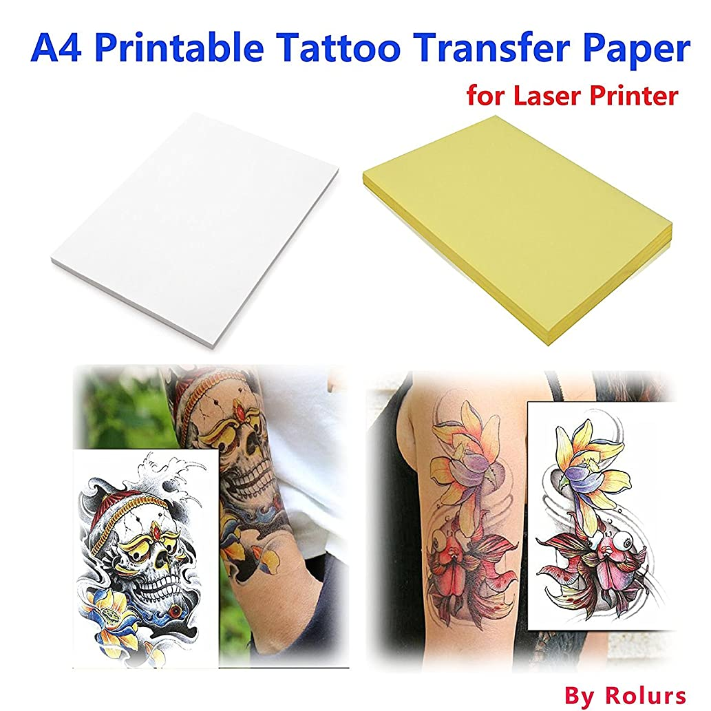 Rolurious 10 Sheets Laser DIY A4 Temporary Tattoo Transfer Paper Printable Customized