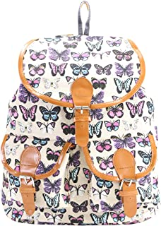 DESENCE Women & Girls Stylish Backpack for College/School/Travel -Canvas -Butterfly Print- 10 liters (Off White)