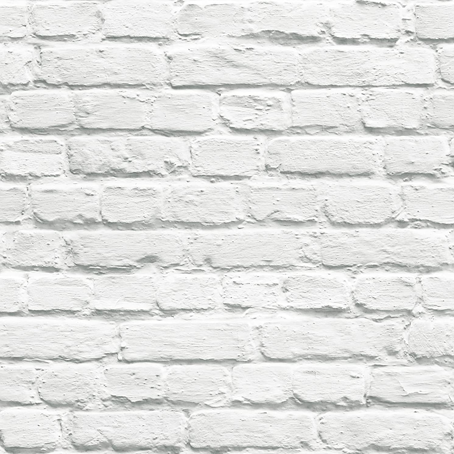 102539 - Novelties Painted White Brick White painted Brickwork Geometric Wallpaper
