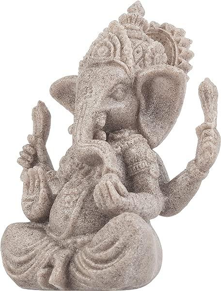 MyGift Mini 3 5 Inch Ganesha Buddha Handmade Resin Sandstone Elephant Statue