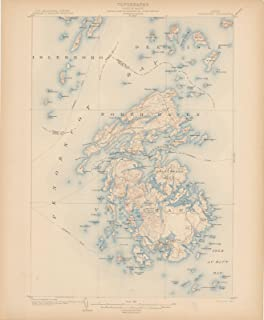 Historic Pictoric Map - Atlas of Maine 1905, Vinalhaven 1905 Topographic - Vintage Poster Art Reproduction - 24in x 30in