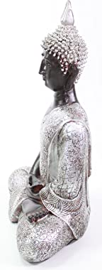"""We pay your sales tax Feng Shui 11"""" Silver and Black Thai Meditating Buddha Home Decor Statue (KT00138)"""