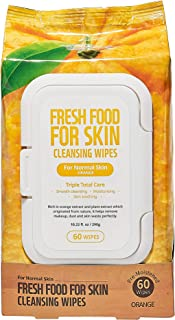 Face Wipes Makeup Remover Daily Simple Gentle Cleansing Cloth by Fresh Food for Skin (Orange, 1pk Normal)