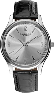 Akribos XXIV Men's Watch - Radiant Sunburst Effect Dial On Embossed Crocodile Pattern Genuine Leather Strap - AK539