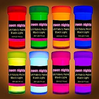 Best Fabric & Textile UV Paint Set | Set of 8 Neon Black Light Glow Paints | Fluorescent Clothing Colors | Glowing Fabric Tie Dye Paints | 8 x 20 ml / 0.7 fl oz Review