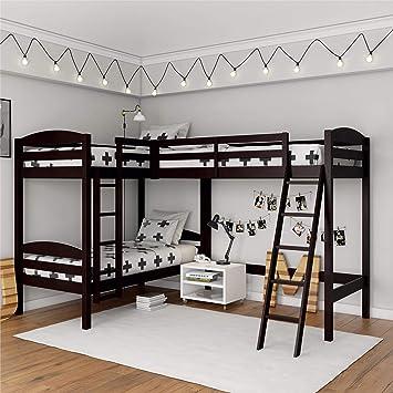 Amazon Com Dorel Living Clearwater Triple Espresso Bunk Beds Furniture Decor