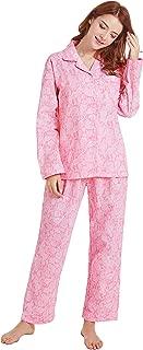 TONY AND CANDICE Women's 100% Cotton Pajamas, Long Sleeve Woven Pj Set Sleepwear