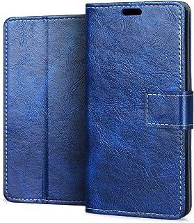 {RIFFUE} Sony Xperia XZ1sケース 手帳型 おしゃれ 柔軟 レザー マグネット カード収納 スタンド かわいい レトロ 薄型 Sony Xperia XZ1s ケース-ブルー