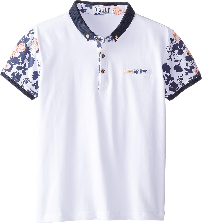 a.x.n.y Boys' Short Sleeve Floral Polo Shirt