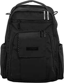 JuJuBe Be Right Back Multi-Functional Structured Backpack/Diaper Bag, Onyx Collection - Black Out