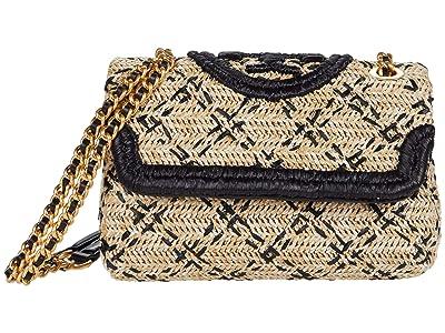 Tory Burch Fleming Soft Straw Small Convertible Shoulder Bag (Natural/Black) Handbags
