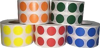Colour Coding Circle Labels Bulk Pack, 13 mm 1/2 Inch Dot Stickers, 5 Colours, 1000 per Colour