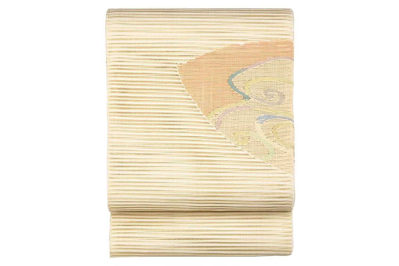 (ソウビエン) 名古屋帯 八寸名古屋帯 薄茶色 ベージュ ピンク 灰青色 紫 波 渦 楕円 曲線 透かし織り 絽 綴れ 三通柄 お太鼓柄 夏向け カジュアル なごや帯 8寸 仕立て上がり 松葉仕立て