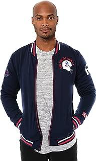 Ultra Game NFL Men's Full Zip Fleece Vintage Letterman Varsity Jacket